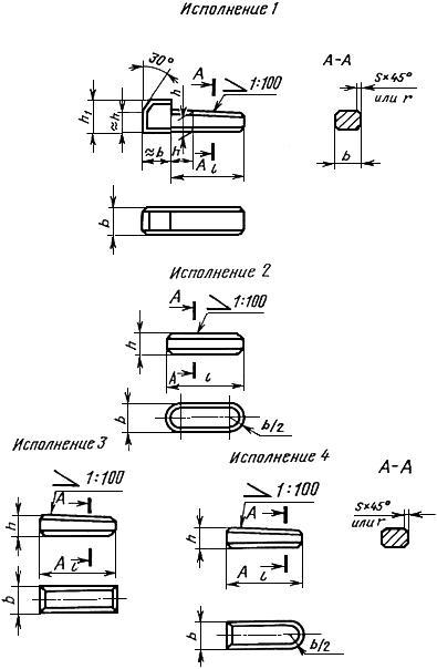 ГОСТ 24068-80 Основные нормы взаимозаменяемости. Соединения шпоночные с клиновыми шпонками. Размеры шпонок и сечений пазов. Допуски и посадки (с Изменением N 1)