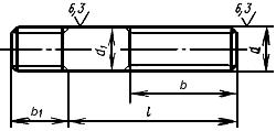 ГОСТ 22032-76 Шпильки с ввинчиваемым концом длиной 1d. Класс точности В. Конструкция и размеры (с Изменениями N 1-4)