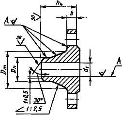 Конструкция воротникового фланца ГОСТ 12821-80