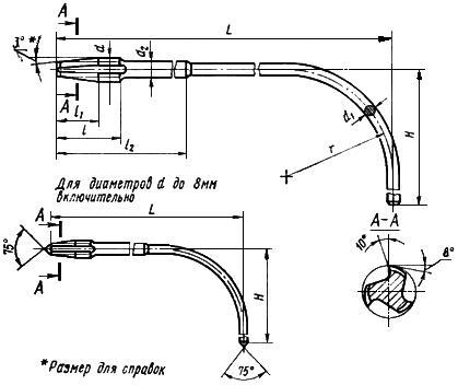 ГОСТ 6951-71 Метчики гаечные с изогнутым хвостовиком. Конструкция и размеры (с Изменениями N 1, 2, с Поправкой)