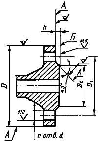 Конструкция фланца ГОСТ 12815-80. Исполнение 1 (с соединительным выступом)