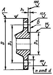 Конструкция фланца ГОСТ 12815-80. Исполнение 2 (с выступом)