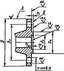 Конструкция фланца ГОСТ 12815-80. Исполнение 4 (с шипом)