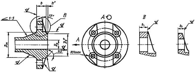 Конструкция фланца ГОСТ 12818-80