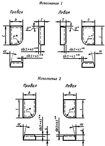 ГОСТ 25396-90 Пластины твердосплавные напаиваемые типов 10, 70. Конструкция и размеры