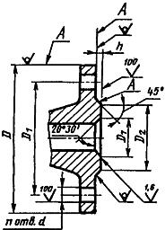 Конструкция фланца ГОСТ 12815-80. Исполнение 6 (под линзовую прокладку)