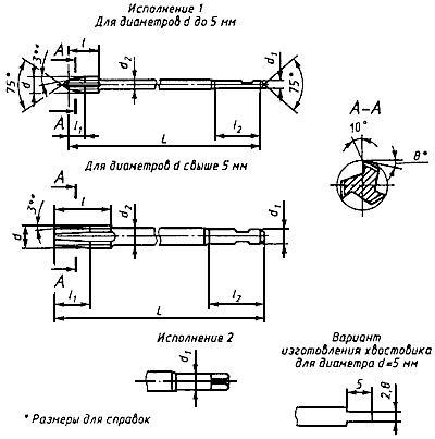 ГОСТ 1604-71 Метчики гаечные. Конструкция (с Изменениями N 1-5)