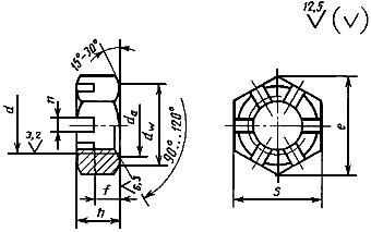 ГОСТ 5933-73 Гайки шестигранные прорезные и корончатые низкие класса точности А. Конструкция и размеры (с Изменениями N 1-6)