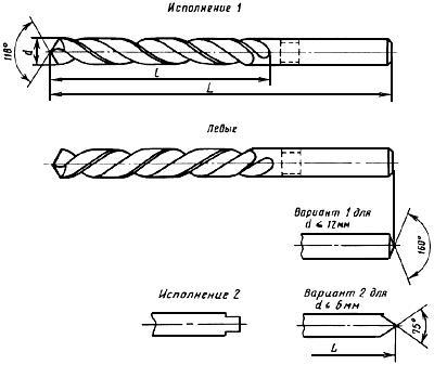 ГОСТ 10902-77 Сверла спиральные с цилиндрическим хвостовиком. Средняя серия. Основные размеры (с Изменениями N 1, 2)