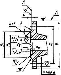 Конструкция фланца ГОСТ 12815-80. Исполнение 9
